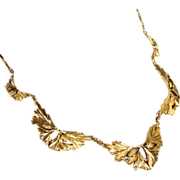 Fantastic French Pine Bough Necklace in 18k Gold, Antique c. 1890