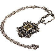 Antique Citrine and Silver Neoclassical Necklace