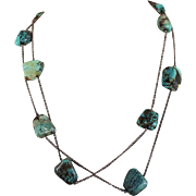 Arts and Crafts Turquoise and Silver Chain Necklace, 43 inches long