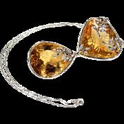 Modern Large Citrine Diamond Necklace