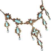 Marius Hammer Blue Enamel and Sterling Silver Gilt Necklace, 16 Inches Long