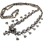 Antique Victorian Floral Design Diamond Necklace