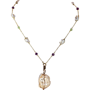 Antique Arts & Crafts Natural Pearl Amethyst Peridot Gold Necklace