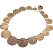 Antique Coin Necklace, Silver English Coins from 1816-1849