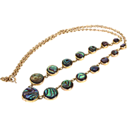 Antique Edwardian Abalone Necklace in 9k Gold, c. 1910