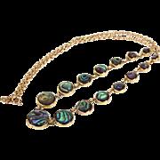 Antique Edwardian Abolone Necklace in 9k Gold, c. 1910
