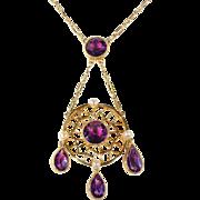 Antique Edwardian Amethyst Pearl Necklace