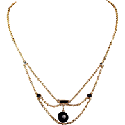 French Antique Onyx Diamond Necklace Drapey
