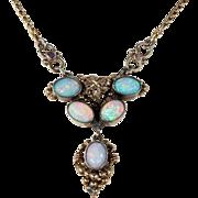 Antique Silver Gilt Opal Necklace