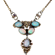 Antique Silver Gilt Opal Necklace