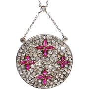 Edwardian Diamond Ruby Necklace Gold Platinum