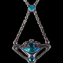 Arts & Crafts Silver Enamel Necklace by Charles Horner