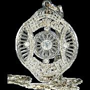Antique French Edwardian Platinum and Diamond Pendant on Platinum Chain