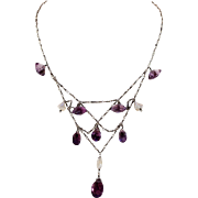 Antique Art & Crafts Silver Amethyst Pearl Bib Necklace