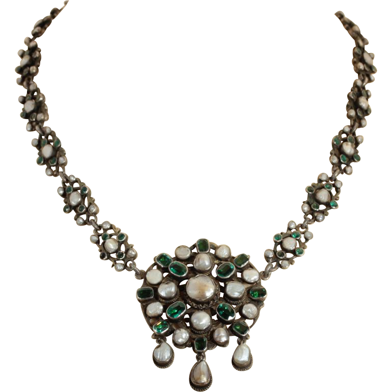 Antique Silver Austro Hungarian Green Garnet Doublet and Pearl Necklace c.1870