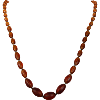 Brown Edwardian Glass Bead Necklace