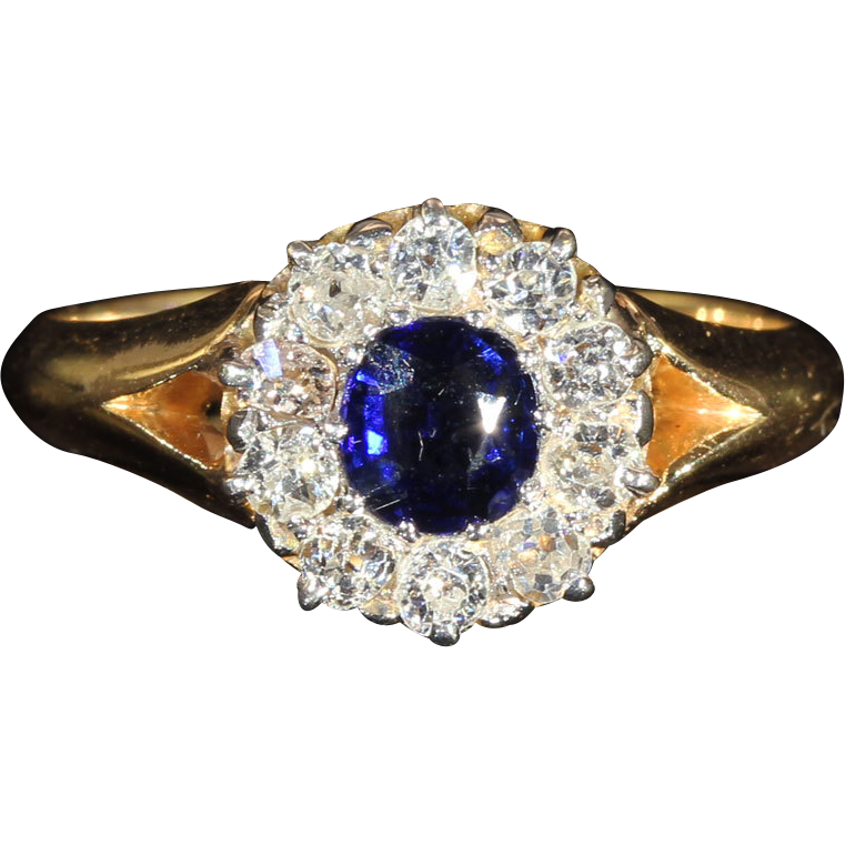 Antique Edwardian Sapphire and Diamond Cluster Engagement Ring