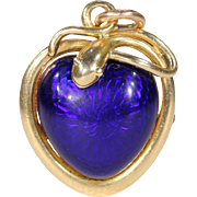 Victorian Blue Enamel Snake Heart Pendant Necklace, 1851