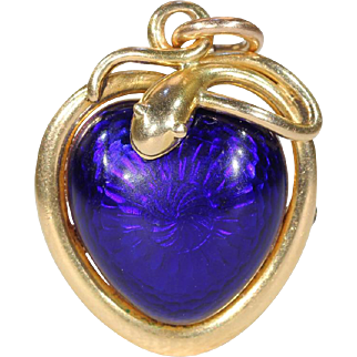 Victorian Blue Enamel Snake Heart Pendant Necklace, 1851