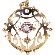 Antique Edwardian Amethyst Pendant in 9k Gold