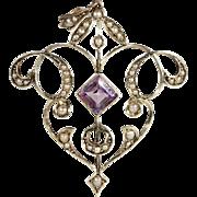 Antique Art Nouveau Amethyst and Pearl Lavaliere Pendant in 9k Gold