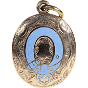 Antique Victorian Enamel Locket Backed Pendant