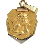 Vintage French Art Deco Raphael Cherub Angel Pendant
