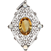 Antique Silver Citrine and Moonstone Pendant, Edwardian