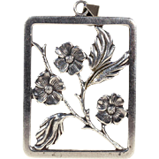 Vintage Scandinavian Midcentury Modern Pendant with Dogwood Flowers