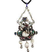 Antique Austro-Hungarian Pendant with Cherub Riding on a Cloud, Enamel, Silver and Pearl