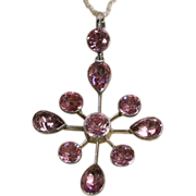 Edwardian Foiled Bright Pink Paste Silver Pendant c.1910 (Pearl chain not included)