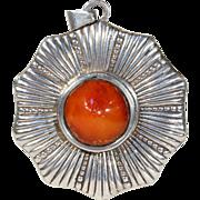 Danish Art Deco Amber Silver Sunburst Pendant