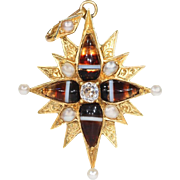 Victorian Diamond Pearl Banded Agate Gold Star Pendant