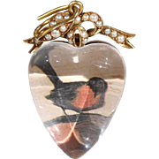 Victorian Large Gold Crystal Heart Locket Pendant Pearl Bow