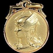 Antique French Vercingetorix and Rooster Pendant Medal Art, 18k Gold c. 1910