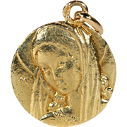 Antique Art Nouveau French St. Mary Pendant in 18k Gold