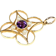 Wonderful Edwardian Amethyst and Pearl Pendant in 15k Gold, Clover-Shaped