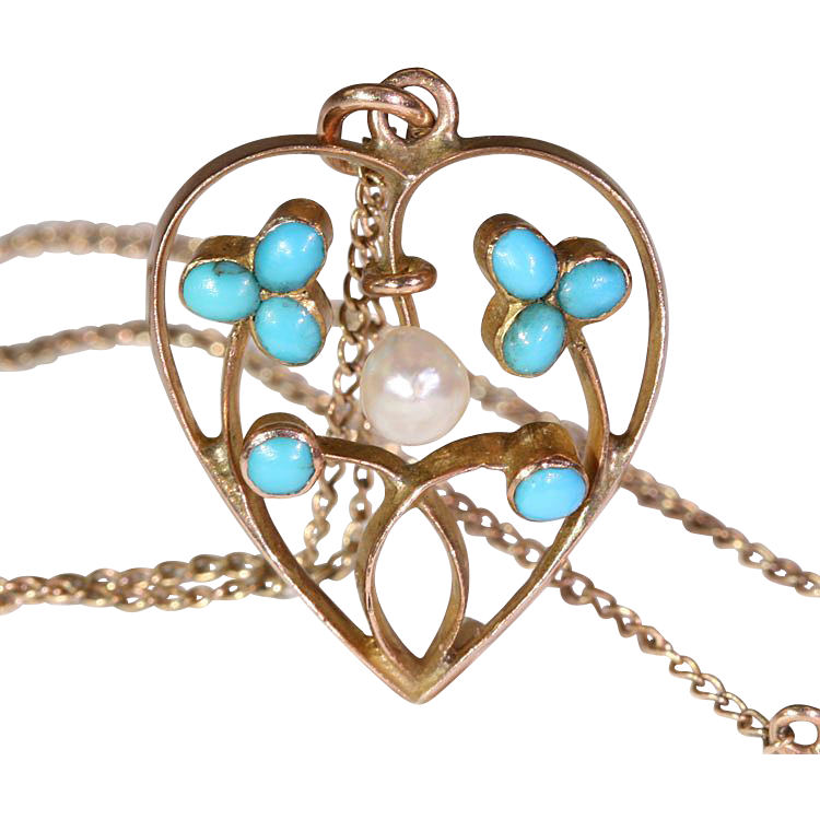 Antique Edwardian Pearl and Turquoise Heart Pendant on Chain, 9k Gold