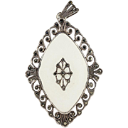 Large Vintage Frosted Glass, Silver and Marcasite Pendant
