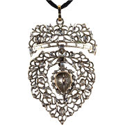Antique Flemish Heart Pendant with Diamonds in Silver & Gold
