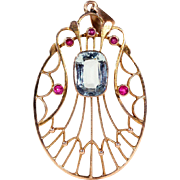 Antique English Aquamarine and Ruby Pendant in 9k Gold