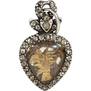 Georgian Memento Mori Wheat Sheaf Pendant Heart Crown