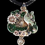 Antique Austro-Hungarian Enamel Pearl Sapphire Stork Pendant