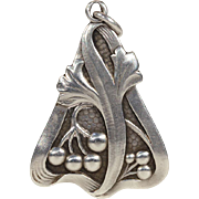 Antique Art Nouveau Silver Pendant by Lutz & Weiss, Ginko Leaf