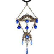 Antique Blue and White Enamel Pendant in Silver by Marius Hammer