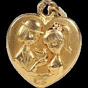 1940s Peynet Gold Heart Pendant 'Les Amoureux de Peynet 18 karat