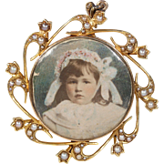 Victorian Gold Pearl Frame Crystal Locket Pendant