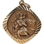 Vintage Gold St. Christopher Pendant English Hallmarked
