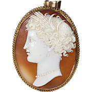Antique Victorian Cameo Pendant of a Lady Gold Frame