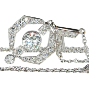 Vintage Art Deco 1.5 ctw Diamond Pendant in 18k Gold and Platinum, *VIDEO*